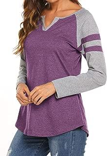 Women's Raglan Long Sleeve T-Shirt Loose Blouse Henley V Neck Baseball Tee Shirt Tops