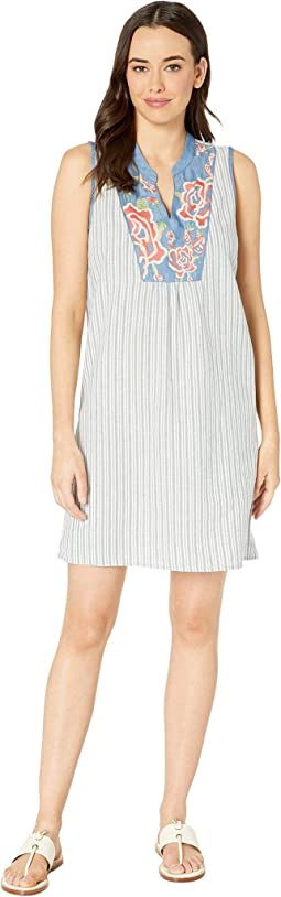 Stripe Sleeveless Dress with Embroidery