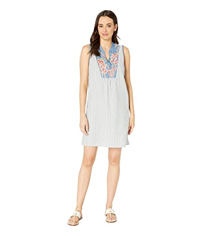 Tribal Stripe Sleeveless Dress with Embroidery (Chambray) Women