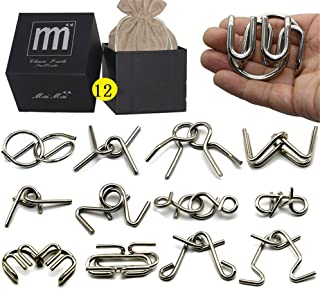 Intermediate Difficulty -12 Pieces Thicker Metal Wire Brain Teaser - Assembly & Disentanglement Puzzles Toys - Magic Trick Toys Puzzles Set - Ideal Gifts Kids Adults (Thick)