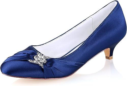 Emily Bridal Chaussures Chaussures Chaussures de mariée Femmes Soie comme Satin Chaton Talon Pompes avec Cristal 298