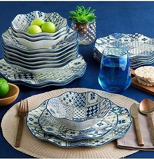 Güral Porselen Ensemble de 24 pièces moderne Dizayn (plaid bleu - blanc).