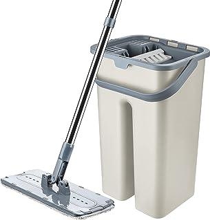 Proff Innovative Microfibre Flat Mop and Bucket Floor Cleaner Set, Ivory Cream, 9 Litter (42 x 25 x 22cm)