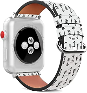 Compatible with Apple Watch - 38mm Leather Wristband Bracelet with Stainless Steel Clasp and Adapters - Arrows Wallpaper