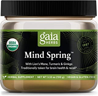 Gaia Herbs Mind Spring Mushroom and Herb Powder, Brain and Cognitive Support, Lion's Mane, Turmeric, Gingko, Daily Herbal ...