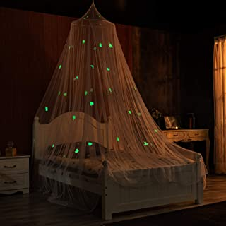 Ecoart Mosquito Net Canopy Bed for Crib Twin Full Queen King Bed Curtains,Sea Animals Glow in Dark Above Bed Canopy