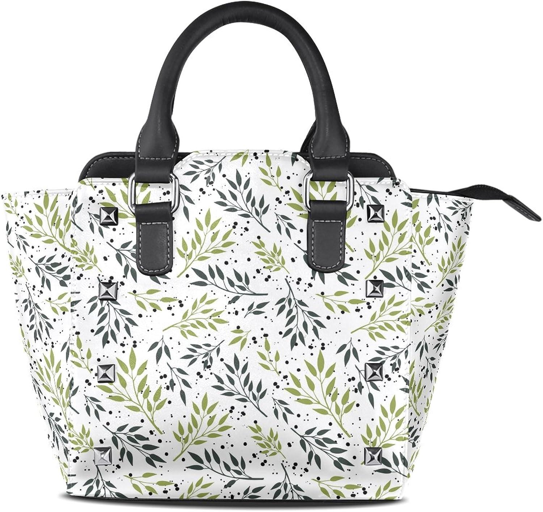 My Little Nest Women's Top Handle Satchel Handbag Fresh Summer Green Branches Leaves Ladies PU Leather Shoulder Bag Crossbody Bag