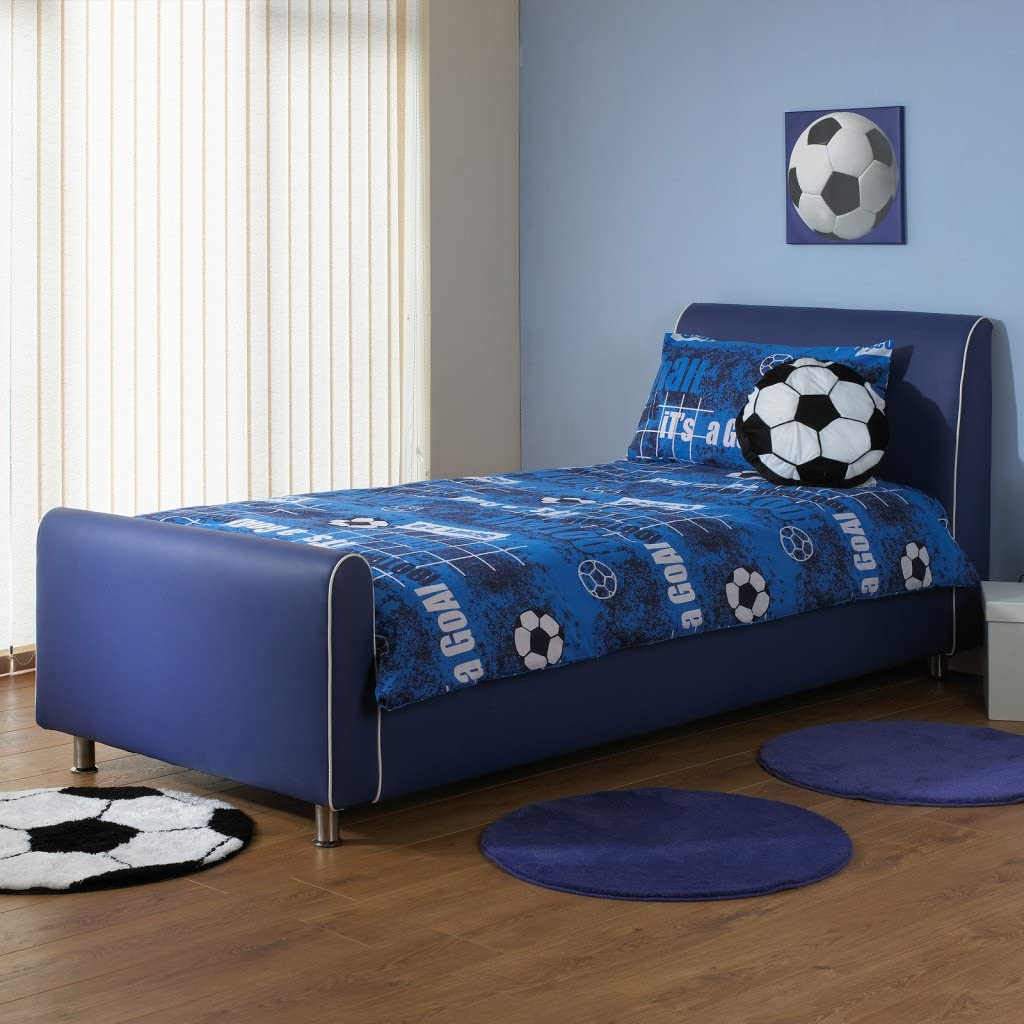 A & I Beds Azure Boys Faux Leather Bedstead - 3FT Single - Black