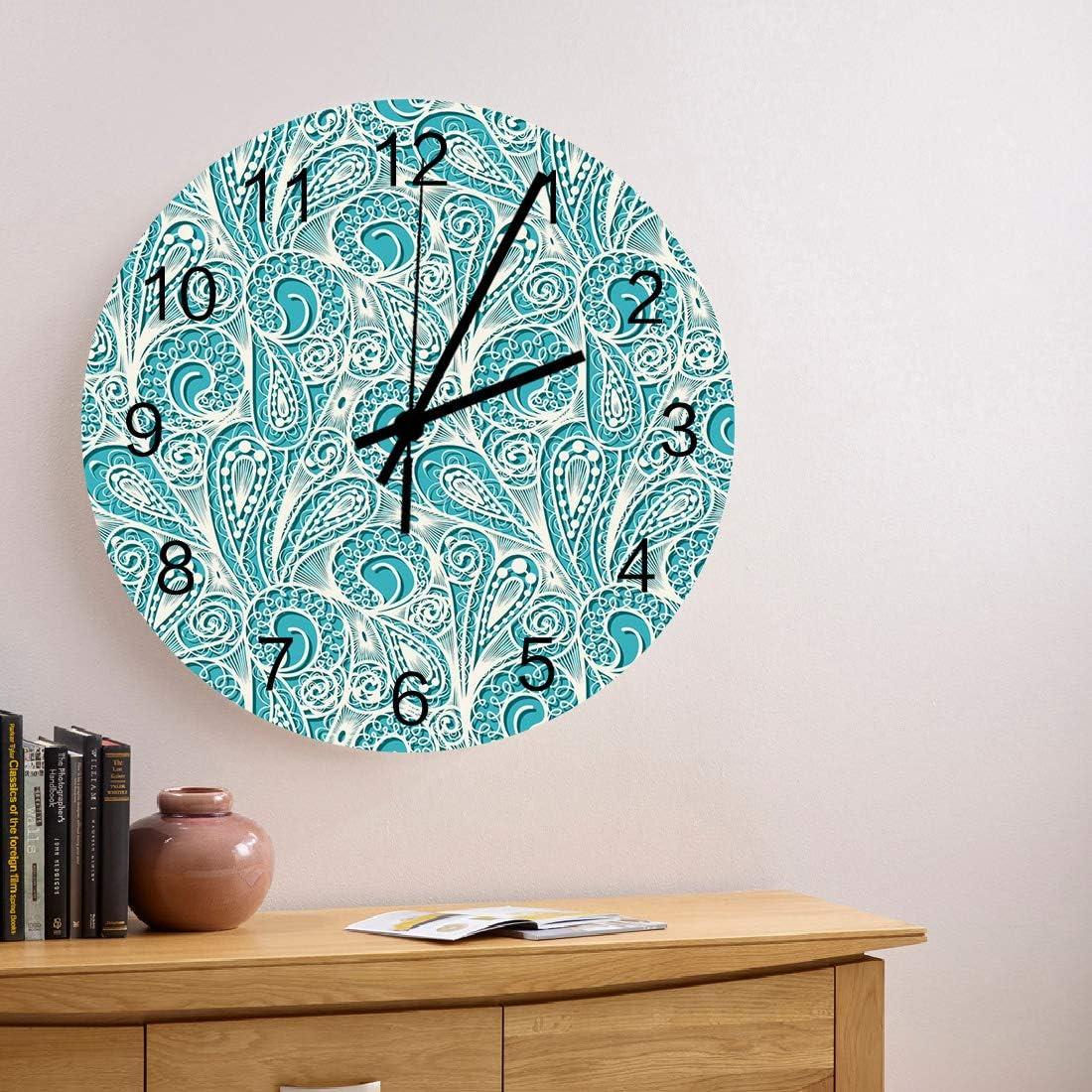 MuswannaA 12 Inch Max 86% OFF Round Wooden Pattern Cheap bargain Wall Clock Beige Flowers