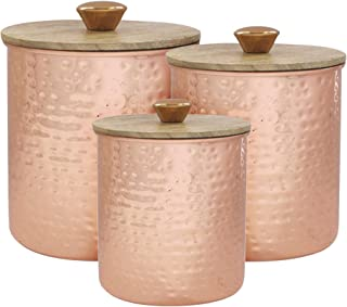 American Atelier Hammered Steel Canister Set 3-Piece Metal Jars Chic Design With Wooden Lids for Cookies, Candy, Coffee, Flour, Sugar, Rice, Pasta, Cereal and More Copper