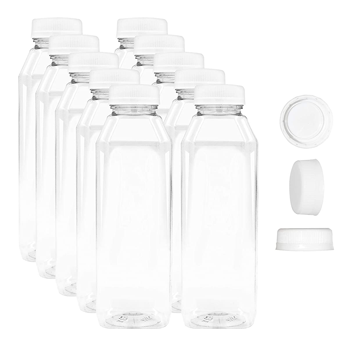 10 Pack 12 oz Empty Juice Bottles Reusable Clear Plastic Disposable Milk Containers with White Tamper Proof Caps