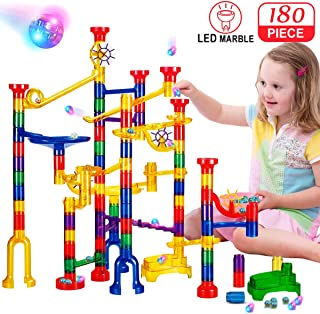 Banvih 180 Pc Marble Run Track with LED Lighted Marbles | Light Up Marbles for Extreme Night Play | STEM Building Blocks Discovery Toy Set – Build Super Mazes, Racers, Ramps and Towers