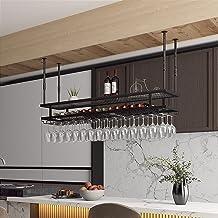 Industrieel Hangend Wijnrek Met Glazen Houder, Verstelbare Plafondbar Wijnglasrek, Zwevende Plank Met 2 Niveaus, Voor Weer...