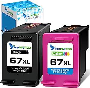 InkWorld Remanufactured Ink Cartridge 67XL Replacement for HP 67 (1 Black & 1 Color) for DeskJet 2752 2710 2755 2722 2723 2720 2755 Plus 4100 4152 4155 Envy 6055 6052 6022 6020 Pro 6452 6455 Printers