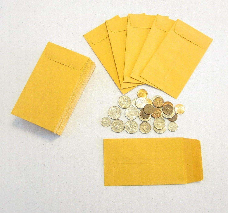 100 New Kraft Coin Sale item Change ENVELOPES Jewe life X 5.5