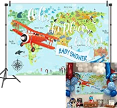 Mehofoto Oh The Place He'll Go Baby Shower Backdrop World Map Photography Background 7x5ft Vinyl Airplane Boy Baby Shower Party Banner Decoration