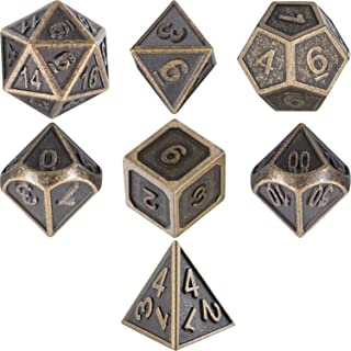 7 Die Metal Polyhedral Dice Set DND Role Playing Game Dice Set with Storage Bag for RPG Dungeons and Dragons D&D Math Teaching (Ancient Brass)