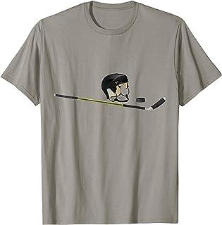 Hockey Player Helmet Puck Stick T-Shirt