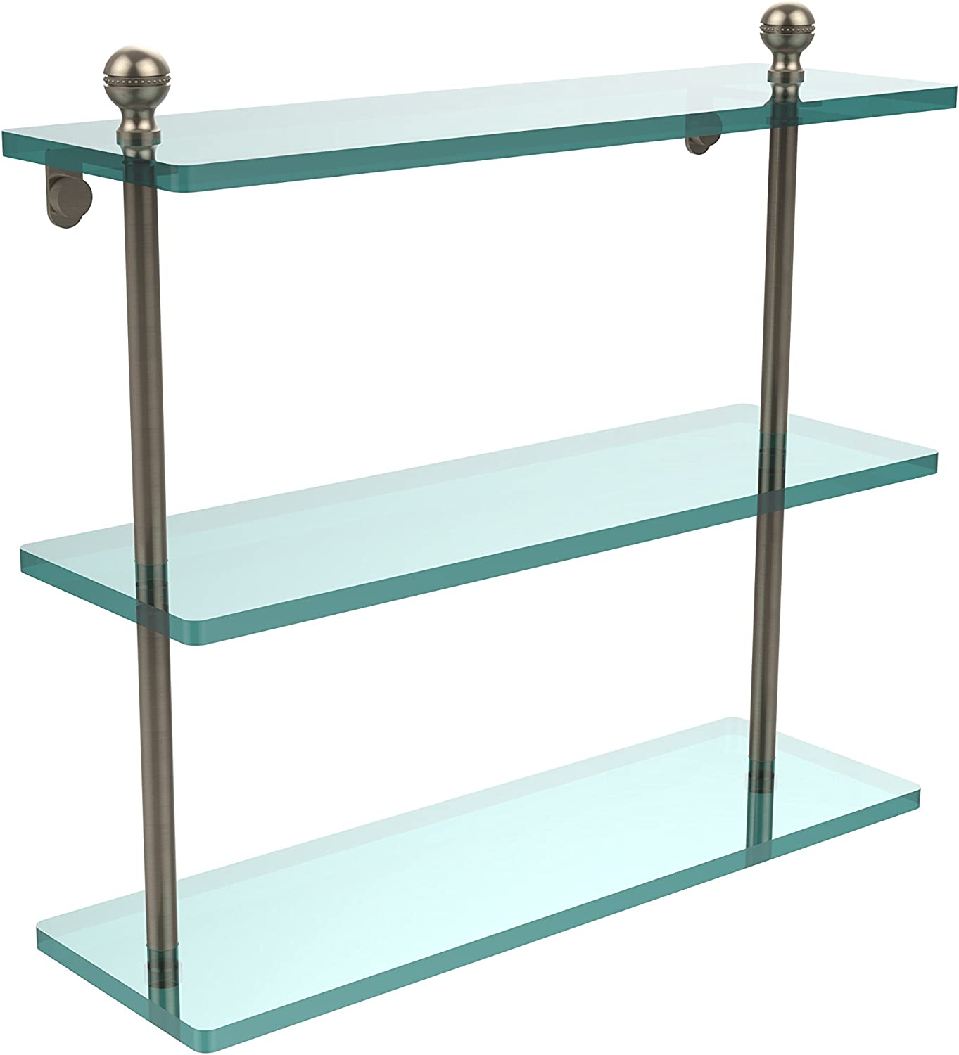 Allied Brass MA-5 16-PEW 16 X Triple Glass Shelf Antique Pewter