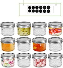 FRUITEAM 4oz 12 PACK Regular Mouth Mini Mason Jars with Lids and Bands, Quilted Crystal Jars Ideal for Food Storage, Jam, ...