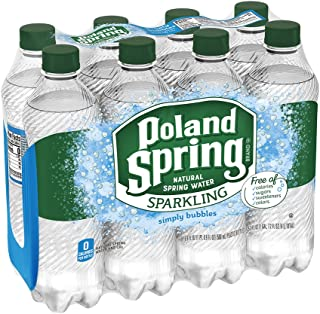Poland Spring Sparkling Water, Simply Bubbles, 16.9 oz. Bottles (Pack of 8)