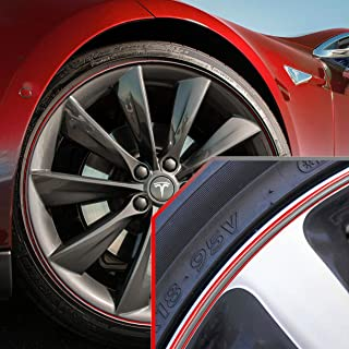 Upgrade Your Auto Wheel Bands Silver in Red Pinstripe Rim Edge Trim for Tesla (Full Kit)