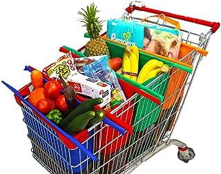 Bolsas Reusables - Kit de 4 bolsas reusables en colores Naranja, Verde, Morado y Azul. Ideales para carritos de supermerca...