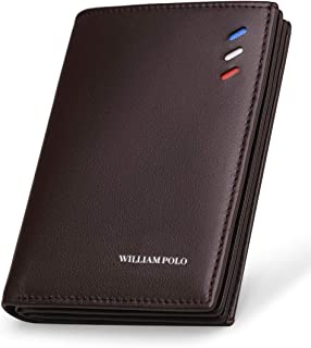 WILLIAMPOLO Mens Wallet Genuine Leather Short Money Clip Slim Credit Card Holder Driver License Thin Men Purse with ID Window