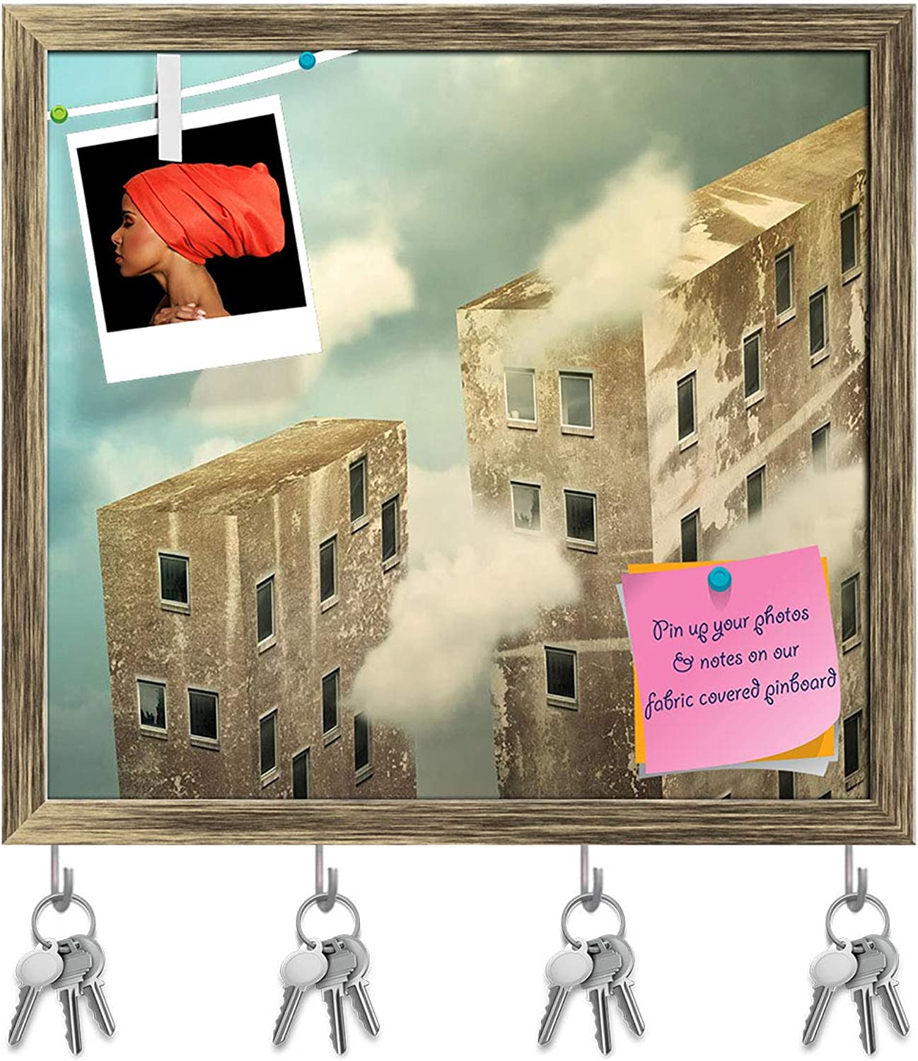 Artzfolio Artistic Skyscrapers in The Sky Key Holder Hooks   Notice Pin Board   Antique golden Frame 17.5 X 16Inch