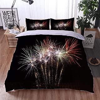 HOOMORE Bed Comforter - 3-Piece Duvet -All Season, Fuochi dartificio Verdi Bianchi e Rossi,HypoallergenicDuvet-MachineWashable -Twin-Full-Queen-King-Home-Hotel -School