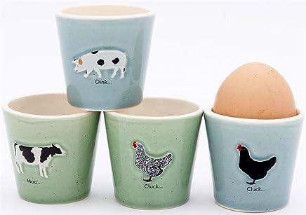 Preisvergleich für Bailey & Friends Farm Animal Eierbecher Set von 4(Henne, Kuh, Schwein) von ECP Design