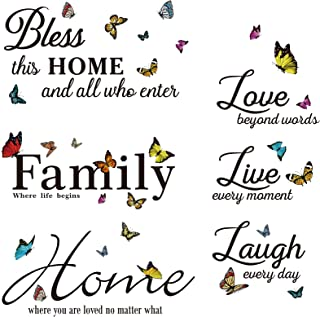 4 Sheets Vinyl Butterfly Motivational Wall Decals, Bless This Home and All Who Enter, Colorful Family Wall Decals Stickers...