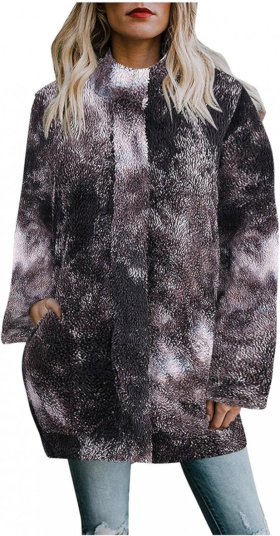 Changeshopping Womens Plush Coat Winter Casual Long Sleeved Ladies Tie-dye Printed Hooded Zipper Plush Jacket Coat