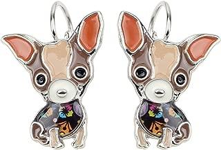 Enamel Alloy Sweet Chihuahua Dog Earrings French Clip Stud Fashion Jewelry For Girls Women Gift