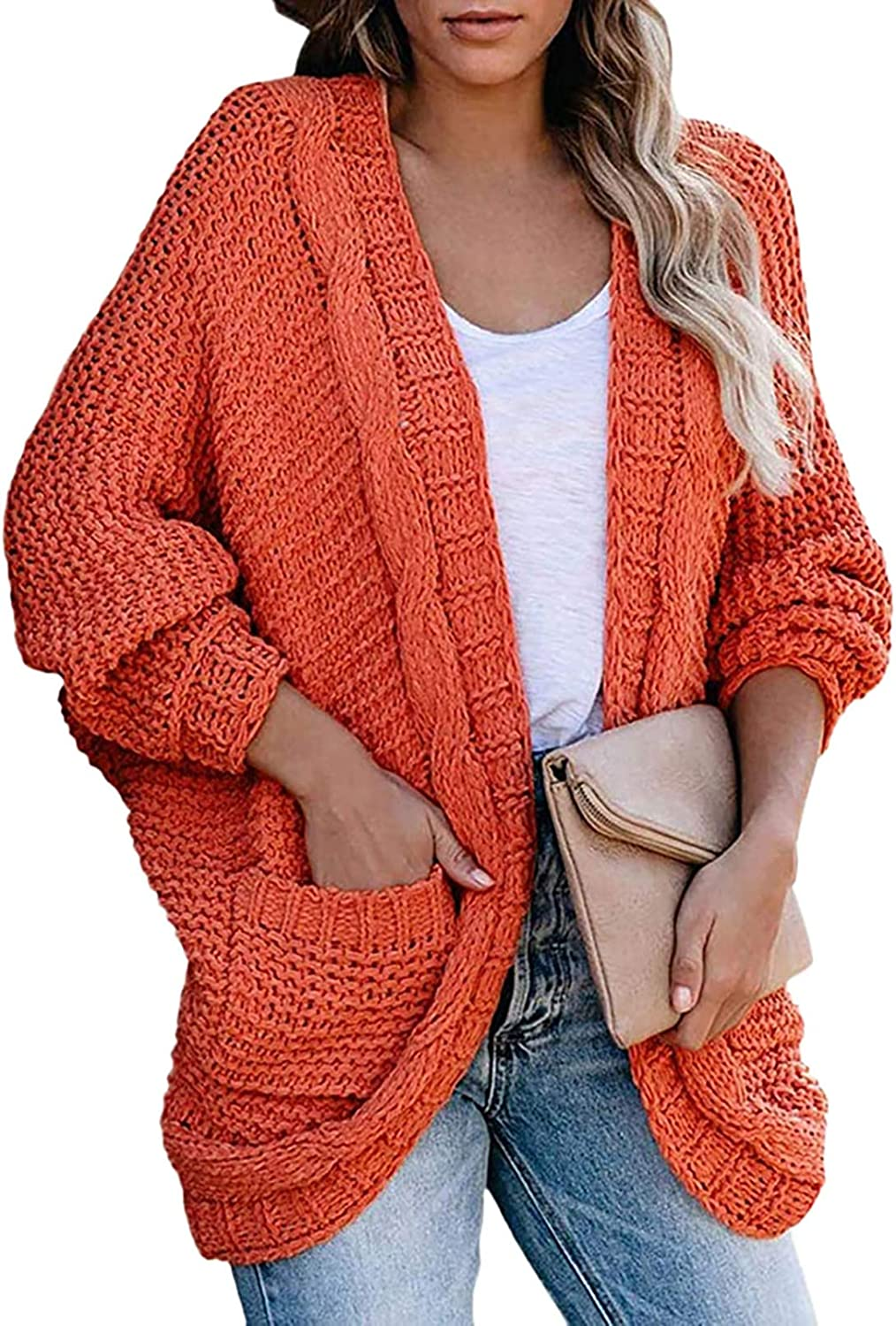 Women's Solid Plain Color Cable Knitted Cardigan Long Sleeve Open Front Cardigans Sweater Coat