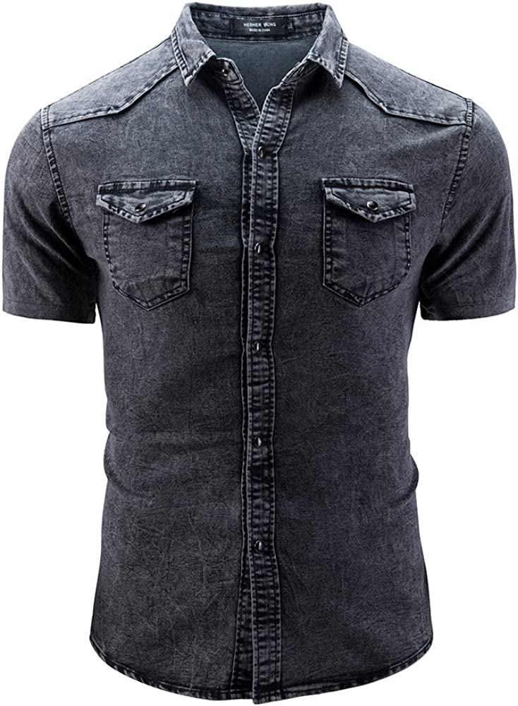 Stoota 2019 Newest Men's Casual Slim Fit Button Shirt with Pocket Short Sleeve Tops Blouse