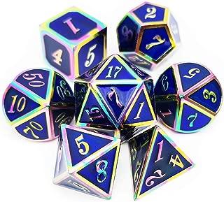 Haxtec Rainbow Metal Dice Set D&D 7PCS Blue DND Dice of D20 D12 D10 D8 D6 D4 for Dungeons and Dragons RPG Games (Rainbow Blue)