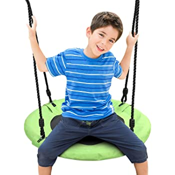Odoland 24 inch Children Tree Swing SwingSeat, Outdoor Saucer Rope Swing Platform Swing for Kid, Round Swingset wirh Adjustable Hanging Ropes for Tree, Backyard and Playground Green