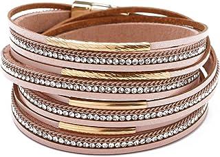 Happrrow Multi Layered Leather Cuff Bracelet,Handmade Bohemian Jewelry