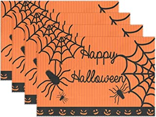 One Bear Happy Halloween Spiders Web and Pumpkin Laughing Face Placemat Orange Background Table Place Mats Washable Heat-Resistant Placemats for Dining Table 12x18 Inch 6 Pcs