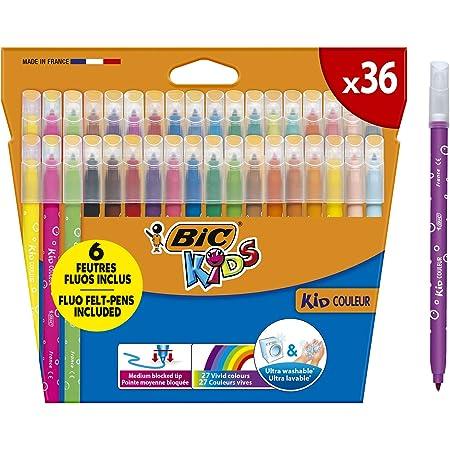 BIC Kids Kid Couleur Rotuladores para niños, Punta Media - Colores Surtidos, Estuche de 36 Unidades - rotuladores lavables ideal para actividades creativas en casa y colegio