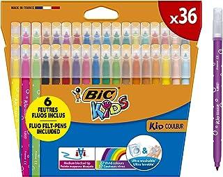 BIC Ecriture Kids Kid Couleur Feutres de Coloriage à Pointe Moyenne - Couleurs Assorties, Etui Carton de 36