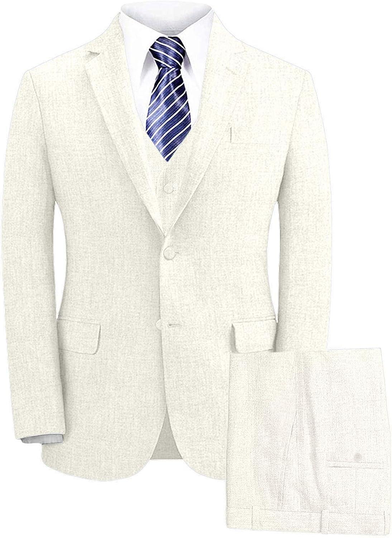 Wemaliyzd Men's Summer 3 Piece Linen Wedding Suit Peak Lapel Blazer Vest Pants