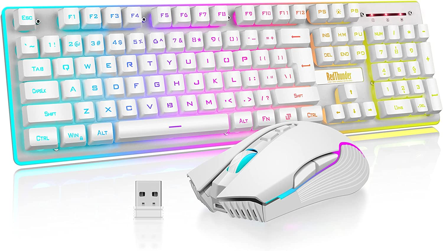 RedThunder K10 Wireless Gaming Keyboard and Mouse Combo, LED Backlit Rechargeable 3800mAh Battery, Mechanical Feel Anti-ghosting Keyboard + 7D 3200DPI Mice for PC Gamer (White)