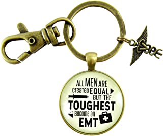 Mens EMT Keychain All Men Are Created Equal But The Toughest Become An EMT Novelty Jewelry Gift Caduceus Charm