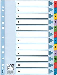 Esselte Intercalaires A4 1-12, Touches et Bande Perforée Renforcées en Mylar, Carton Résistant, Bleu, 12 Onglets avec Tabl...