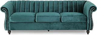 Olga Modern Glam Velvet 3 Seater Sofa, Teal and Dark Brown