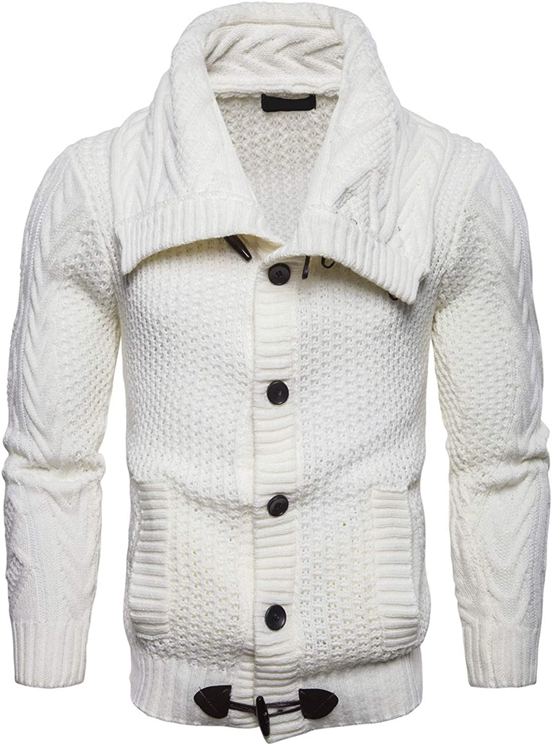 EverNight Mens Slim Fit Knit Sweater,Soft Knitwear Shawl Collar Cardigan,Solid Color Buttons Tops with Ribbing Edge,White,XXL