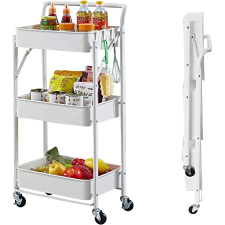 poplarbox 3 Tier Metal Foldable Rolling Cart, Free Installation Metal Mesh Baskets Storage cart with Handle, Mobile Rolling Cart Service Cart for Kitchen Bathroom Office((White)