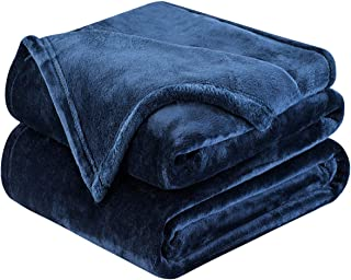 HOMEIDEAS Extra Soft Fleece Blanket Queen/Full Size Lightweight 380GSM Fuzzy Flannel Summer Blanket for All Season for Couch Bed 90 x 90 Inches Navy